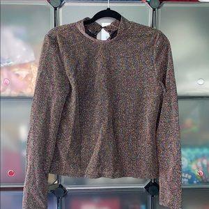 Topshop metallic shirt top size 10 NWT NEW M L